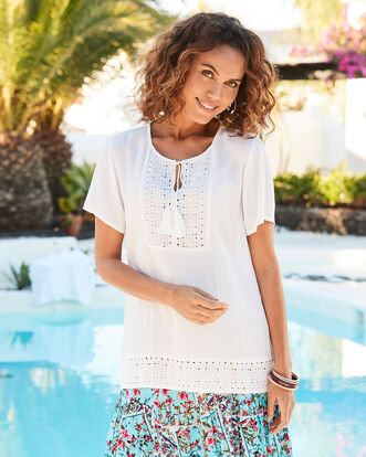 Broderie Anglaise Trim Top