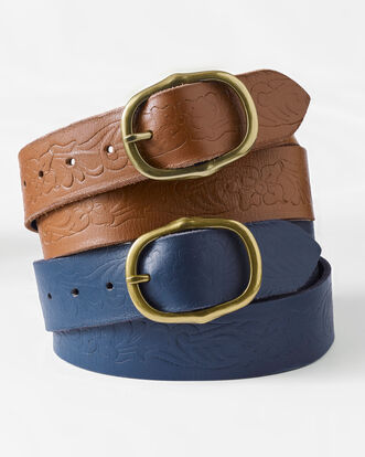 Women's Embossed Leather Belt
