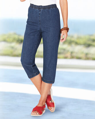 Pull-on Stretch Crop Trousers