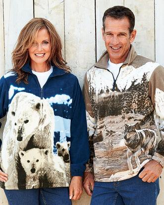 Animal Print Fleece Half Zip Top