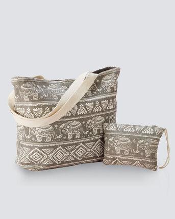 Elephant Print Bag and Purse Set