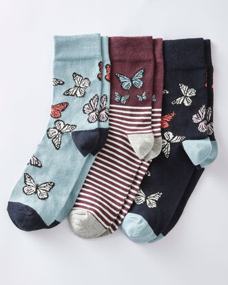 3 Pk Comfort Top Butterfly Socks