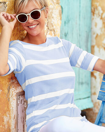 Wrinkle Free Stripe Boat Neck Top