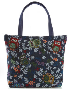 Navy Embroidered Owl Bag