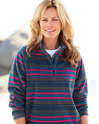 Stripe Fleece Half Zip Top