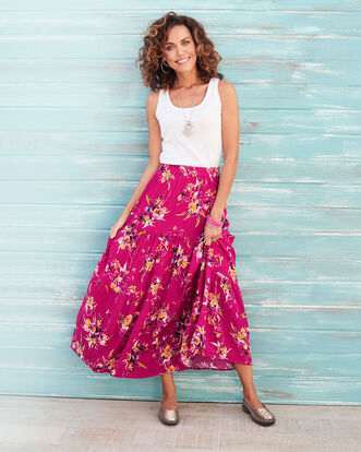 Raspberry Tiered Maxi Skirt
