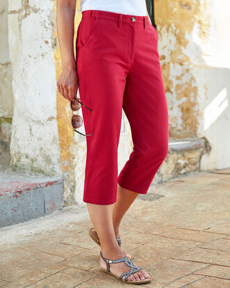 Wrinkle Free Adjustable Waist Crop Trousers