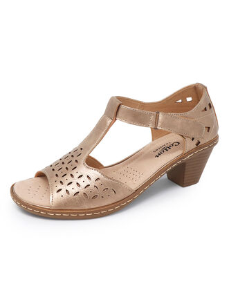 Heeled Cutwork Sandals