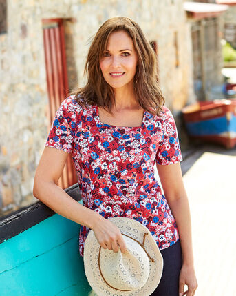 Short Sleeve Square Neck Top