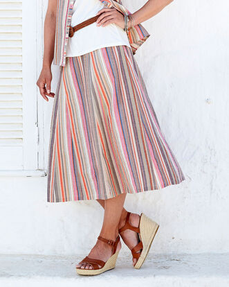 Khaki Multi Seersucker Skirt