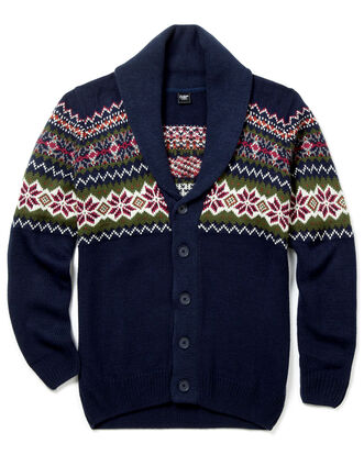 Patterned Shawl Neck Cardigan