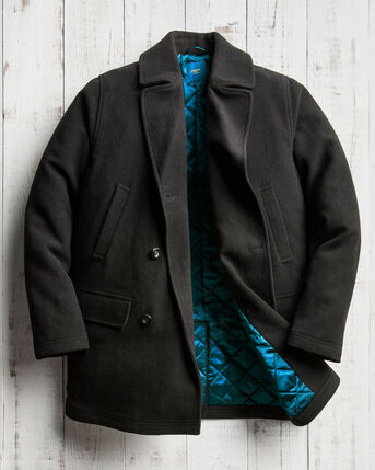 Wool Blend Reefer Coat