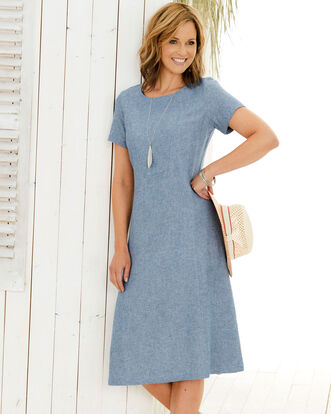 Linen-blend Fit & Flare Dress