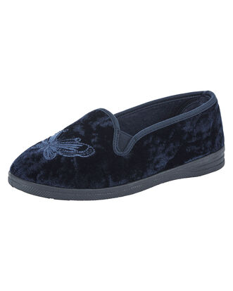 Embroidered Velour Slippers