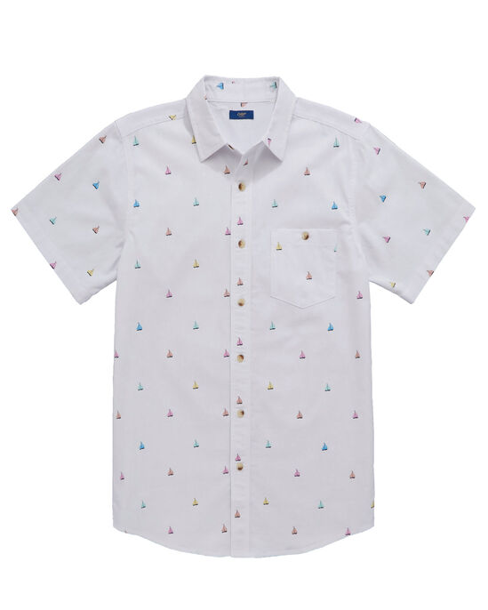 Short Sleeve Printed Chambray Shirt