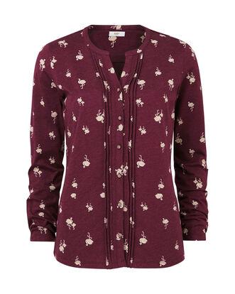 Flamingo Print Jersey Blouse