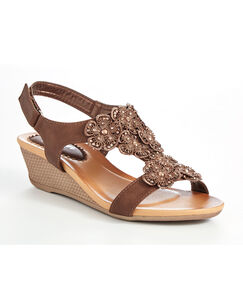 Floral T-bar Wedge Sandals