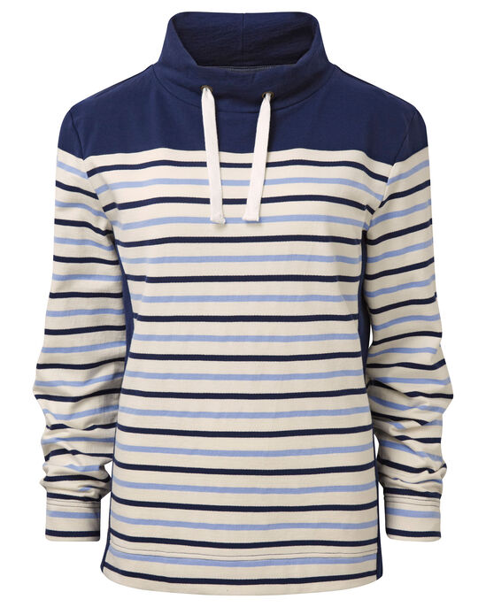 Funnel Neck Stripe Sweatshirt