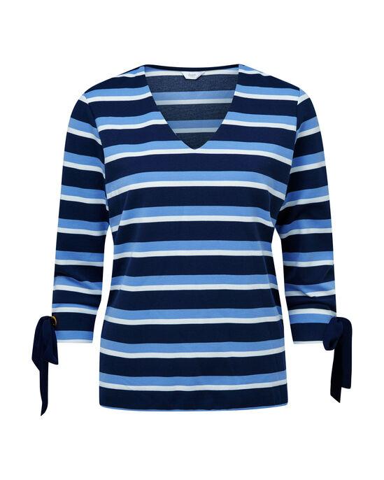 Tie Sleeve Stripe Top