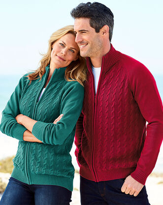 Cotton Cable Zip-through Cardigan