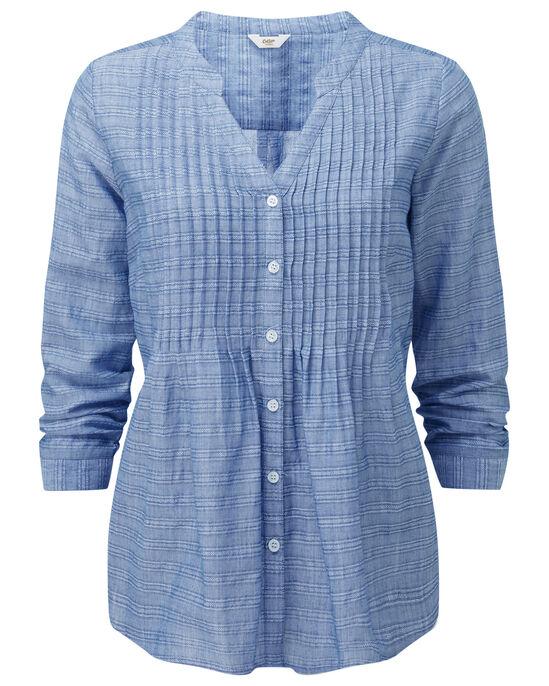 Textured Stripe Pintuck Shirt