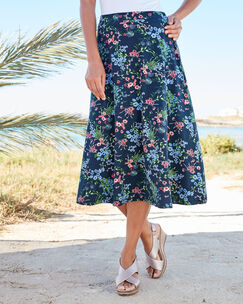 Multi Floral Tummy Control Printed Skirt