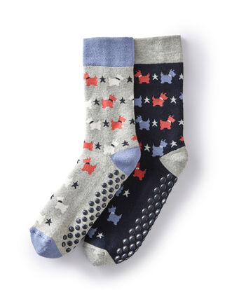 Pack of 2 Patterned Slipper Socks