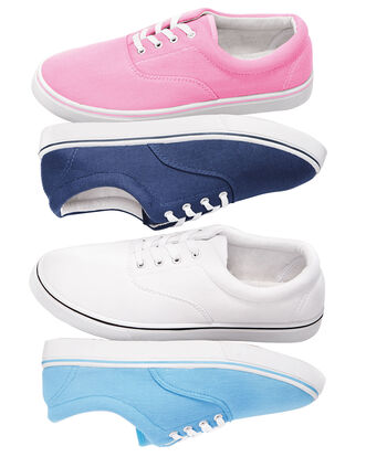 Two-Pack Ladies Canvas Lace Up Shoes