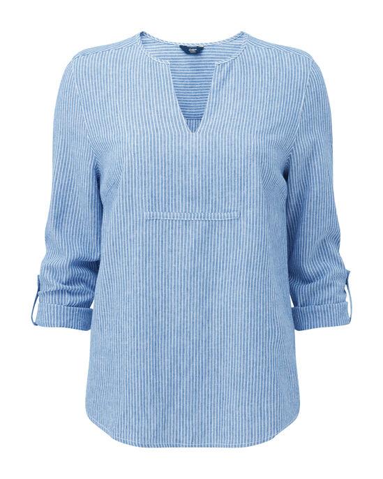 Linen-blend Notch Neck Top