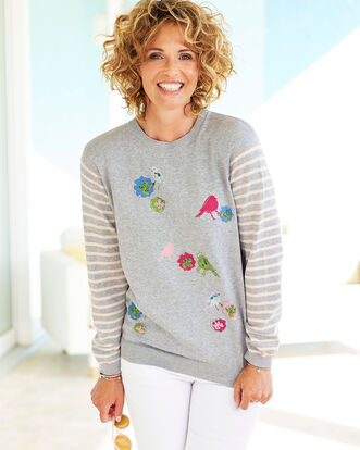 Embroidered Print Jumper