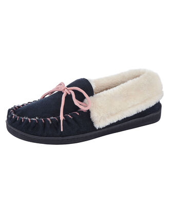 Plush Lined Suede Moccasin Slippers