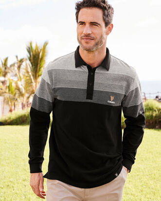 Guinness® Stripe Panel Long Sleeve Polo