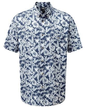 Short Sleeve Printed Denim Shirt