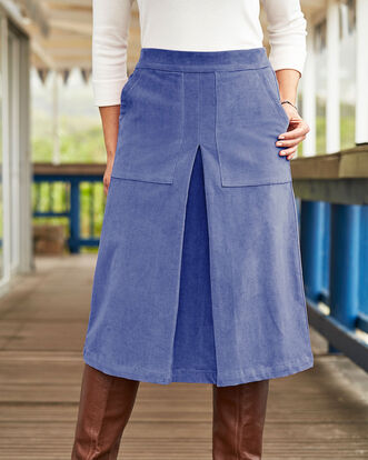 Pull-on Stretch Cord Midi Skirt