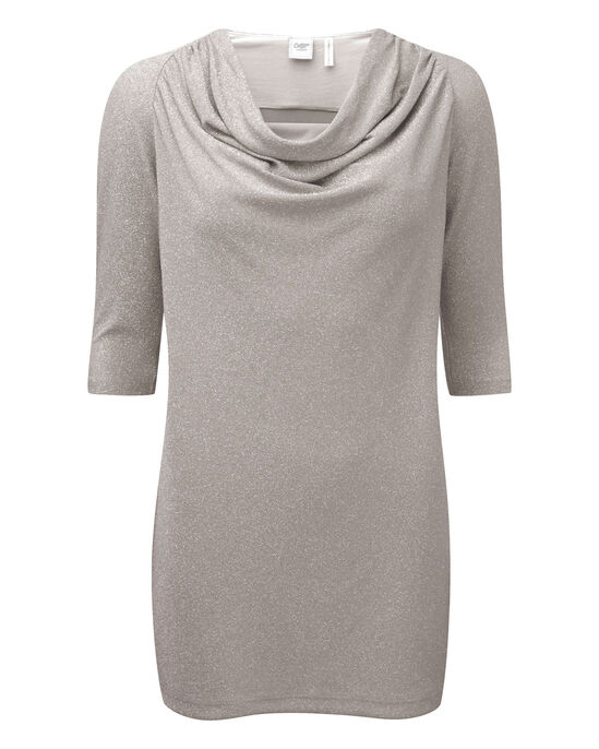 Sparkle Jersey Cowl Neck Tunic