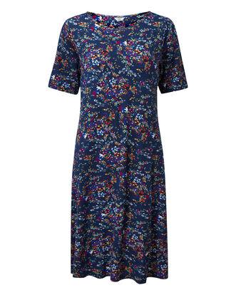 Navy Prinited Midi Dress