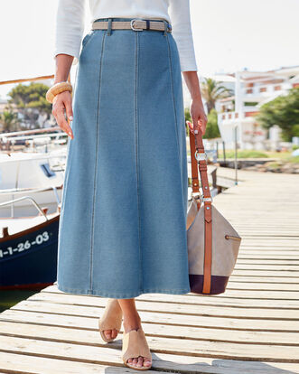 Pull-on Jersey Denim Skirt