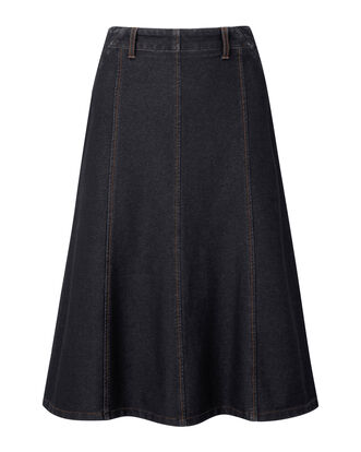 Pull-on Jersey Denim Midi Skirt
