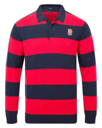England Rose Long Sleeve Knitted Stripe Rugby Shirt